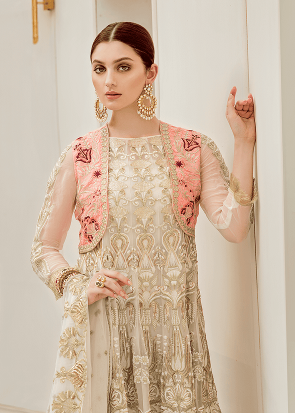 Pakistani designer chiffon outfit in white color