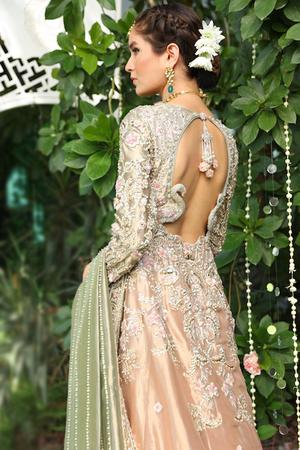 Beautiful designer embroidered bridal dress in rose gold color # B3435