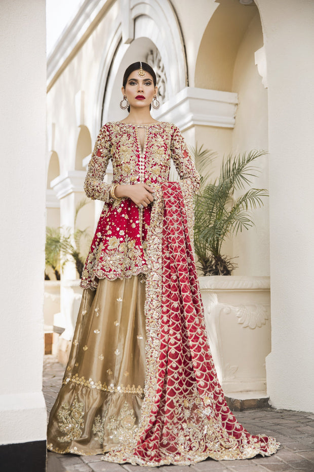 Latest designer embroidered bridal outfit in lavish red and gold color