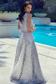 Latest Pakistani designer embroidered net outfit in silver color # P2432