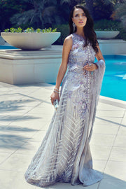 Latest Pakistani designer embroidered net outfit in silver color
