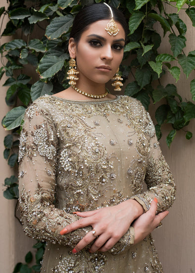 Beautiful Pakistani designer gown dress in dust gold color