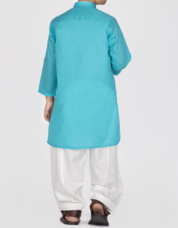 Pakistani designer kids kurta in lavish turquoise color # K2304