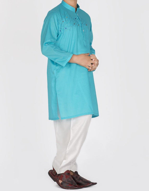 Pakistani designer kids kurta in lavish turquoise color