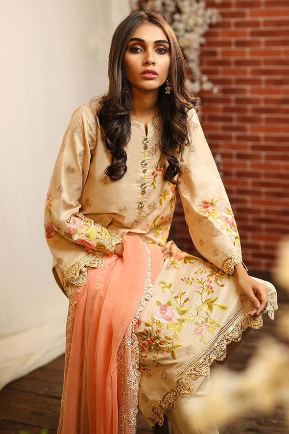 Designer lawn dress in skin color with thread embroidery # P2264