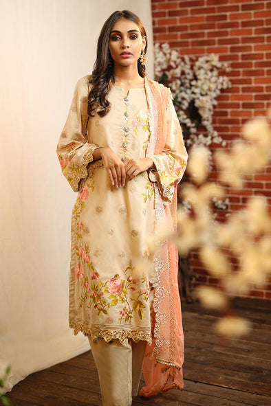Designer lawn dress in skin color with thread embroidery