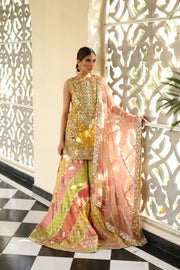 Beautiful embroidered designer mehendi outfit in yellow color # B3445