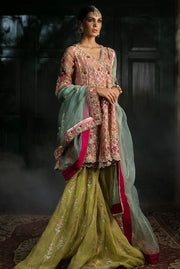 Beautiful designer mehndi outfit embroidered in pink color