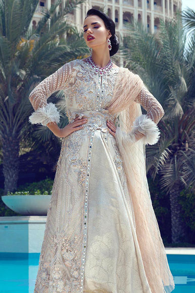 Latest designer net embroidered outfit for party wear in peach color # P2429