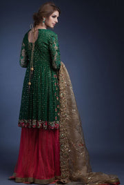 Designer peplum sharara dress in green and pink color # B3327