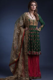 Designer peplum sharara dress in green and pink color