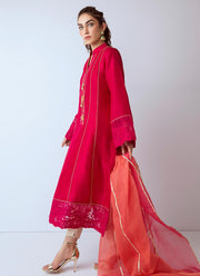Pakistani designer silk dress in fresh red color # P2272