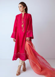 Pakistani designer silk dress in fresh red color