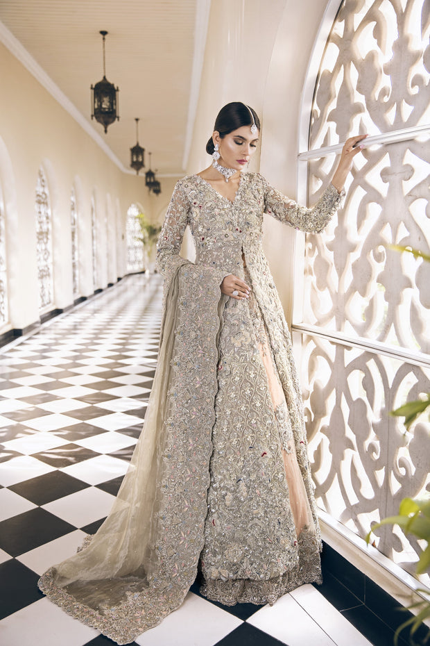 Latest bridal Pakistani designer waleema outfit in lavish peach color