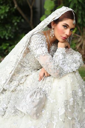 Latest bridal designer walima dress in lavish silver and ivory color # B3438