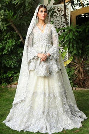 Latest bridal designer walima dress in lavish silver and ivory color