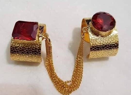 Double Ring with Precious Maroon Stones