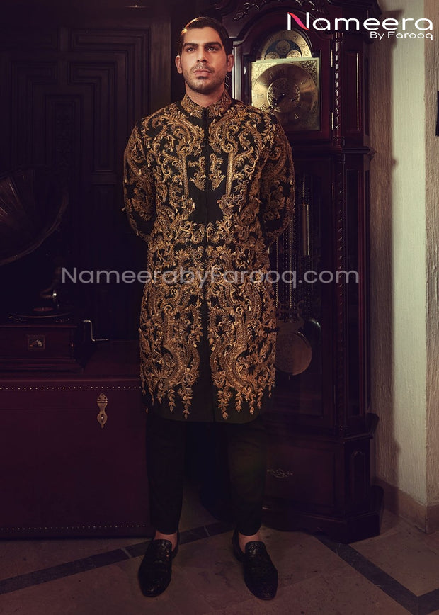 Dulha Sherwani 2021 for Wedding in Black Color