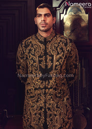 Dulha Sherwani 2021 for Wedding in Black Color Close Up