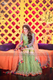 Pakistani Mehndi Gharara In Perot Green Color.Work Embalmed With Dabka Sitara,Gota And Thredads.
