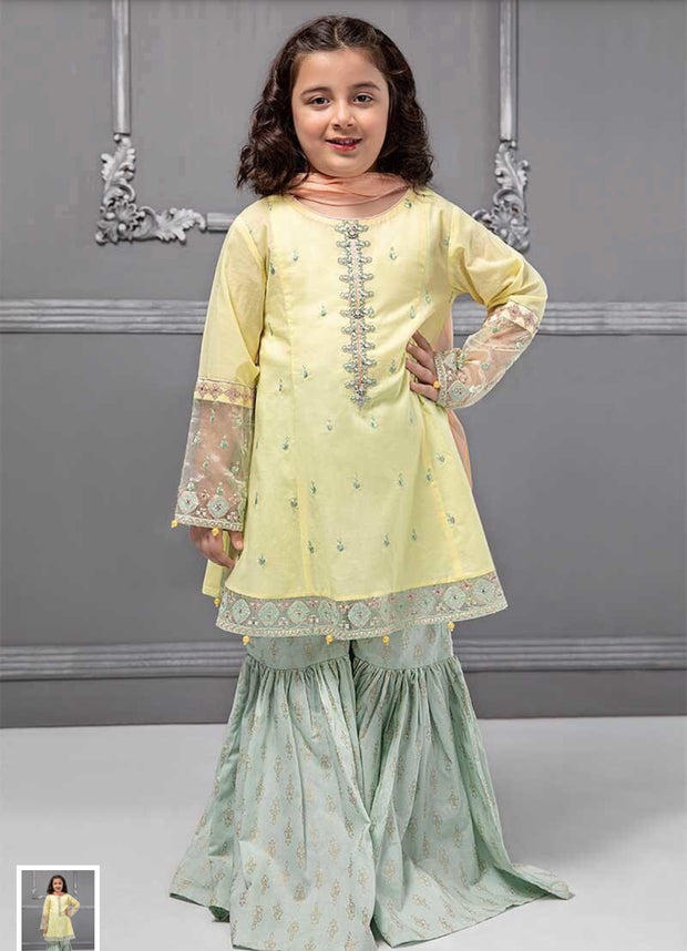 Kids Gharara Kameez in lemon And Green Color.Stylish Gharara Kameez Work Embalished With Tilla,And Threads Embroidery On Neck Line,Sleeves And Daman.