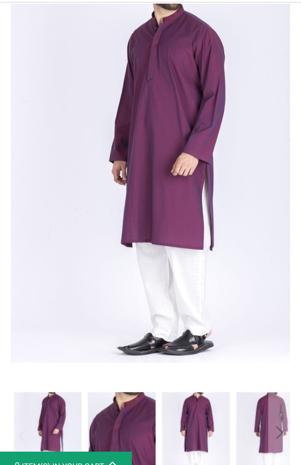 Stylish Men Kurta Pajama In Beutiful Purple Color.Stylish Embroidery On Neck Collar.
