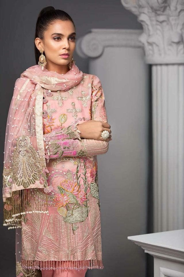 Asian Stylish Dress In Beutifull Short Shirt & Boot Pants.In Beutifull Pink Color Work Embellished With Hand Work & Multi Threads Embroidery.