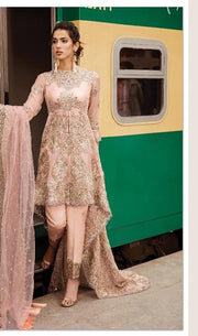 Stylish Designer Dress In Beutifull Pastel Pink Color.Work Embalished With Pure Tilla Embroidery And Cutwork Patches.