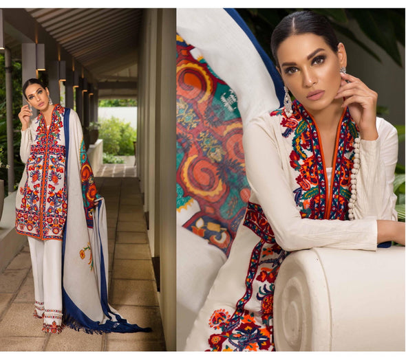 Palistani Latest Fashion by Sana Safinaz in Off White Color.Work Embellished With Multi Threads Embroidery And Woolen Shawl .