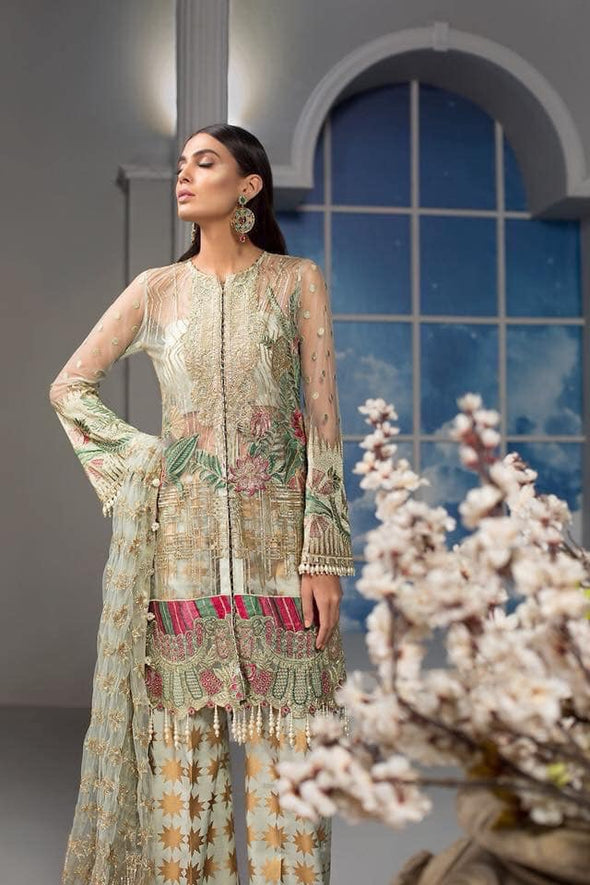 Stylish Pakistani Dress In Pistachio Green Color.With Tilla,Threads,And Handwork Embellishments