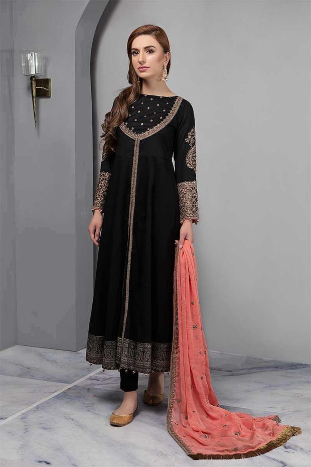 Black Anarkali Frock By Maria B.Work Emballished With Dhaga And Tilla Embroidery.