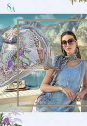 Pakistani Lawn Dress by Maria B In Beutiful Sky Blue Color.Work Embellished With Pure Dhaga Embroidery And Cutwork Patches.