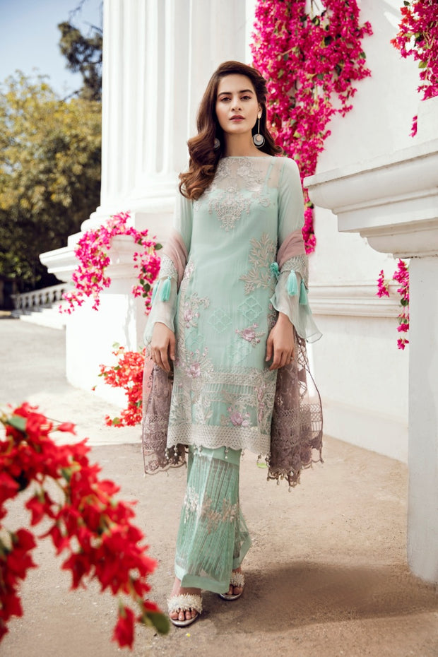 Beautiful chiffon dress by imrozia in light mint green color