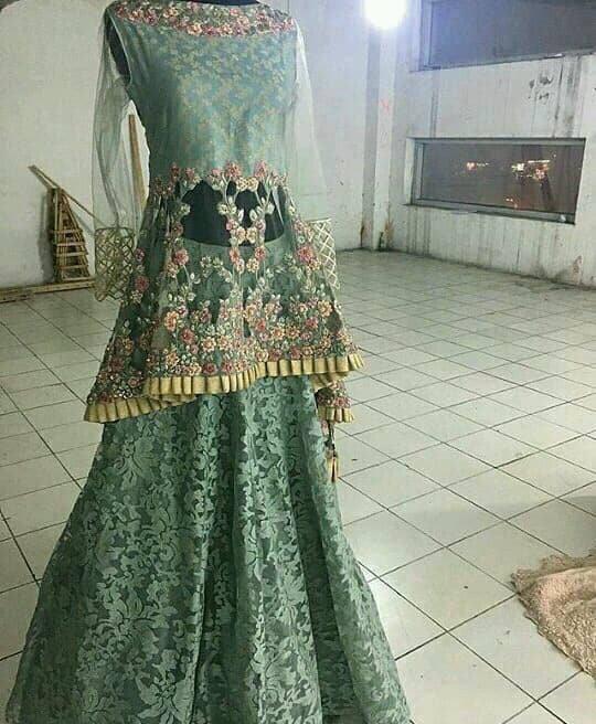Beutifull wedding party lahnga in mint green color Model#W 1180