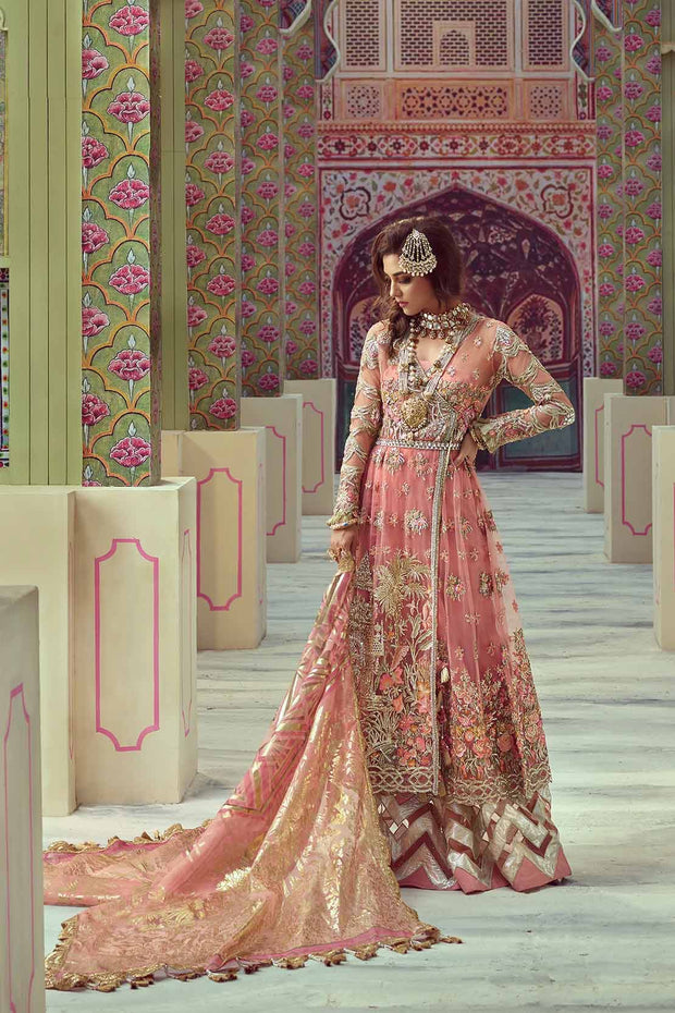 Dulhan Tea Pink Nikah Dress by Saira Shakira.Work Embellished With Threads Embroidery,Block Printing,Dhaga,Tilla,Crystal And Pearls Work.
