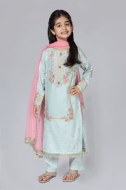 Eid Dress for Kids in Turquoise Color