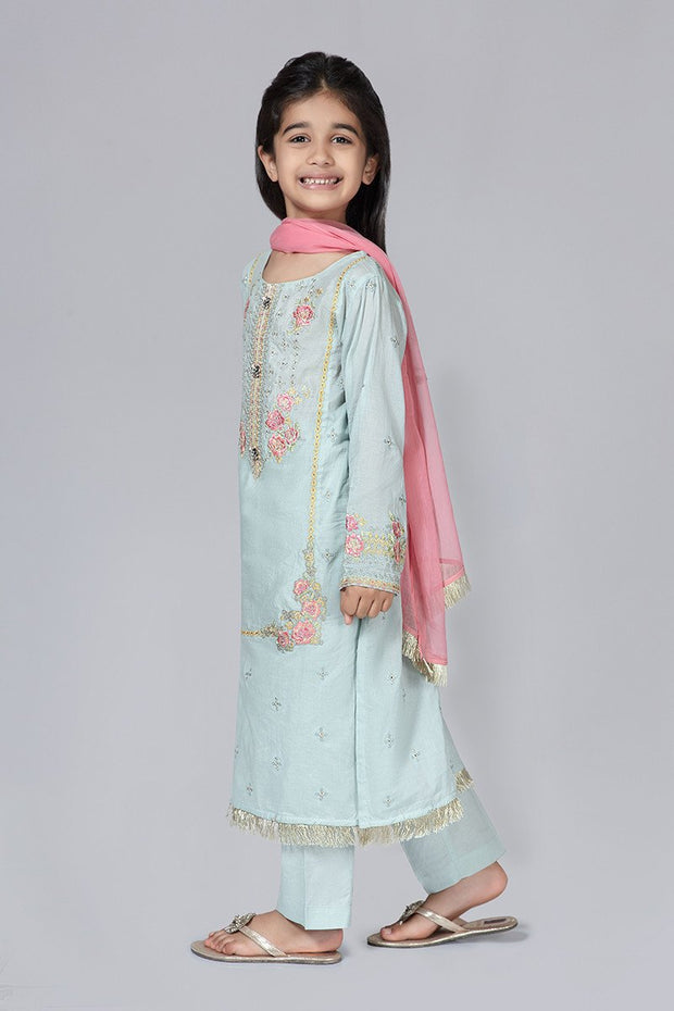 Eid Dress for Kids in Turquoise Color Side Pose