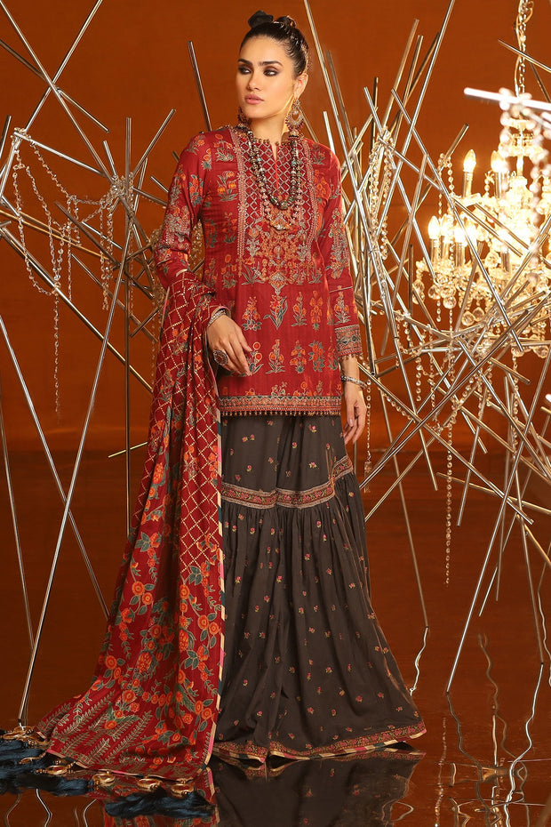 Eid Gharara Suit in Maroon Color