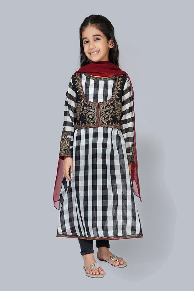 Eid Outfit for Kids in Check Print #N9017