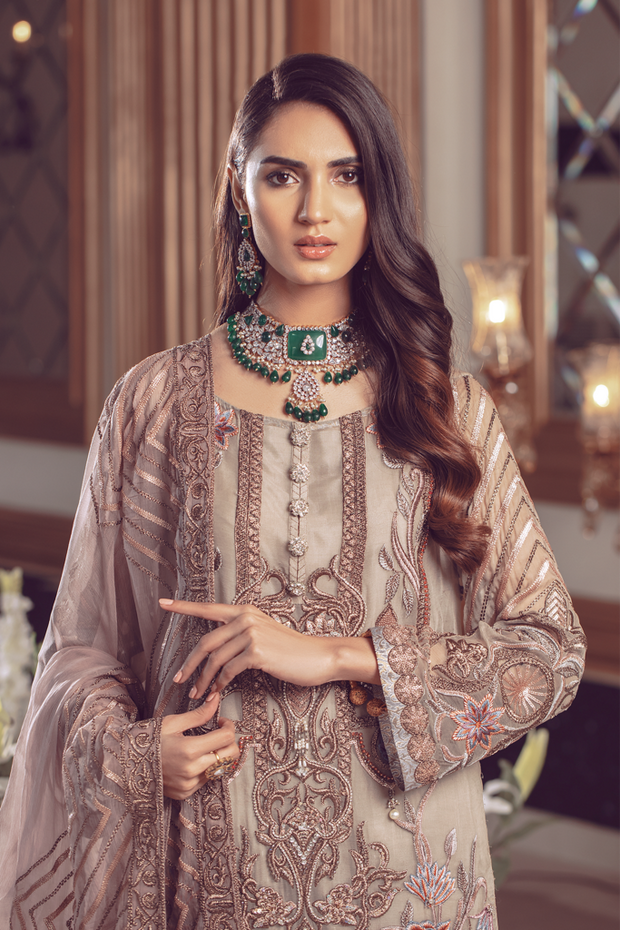 Pakistani Chiffon embroidered eid formal dress in foxy silver color