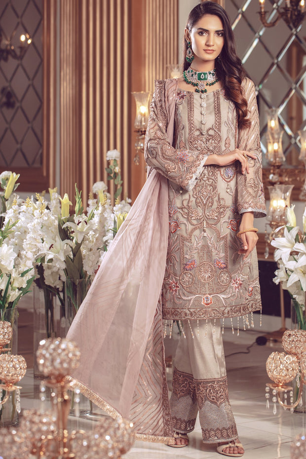 Pakistani Chiffon embroidered eid formal dress in foxy silver color # P2495