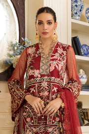 Pakistani Party Wear In Crimson Red Colour 1