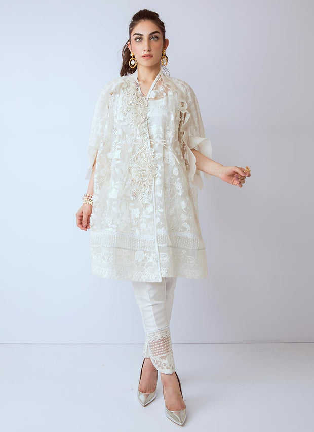 Beautiful Pakistani Eid organza dress in white color # P2269