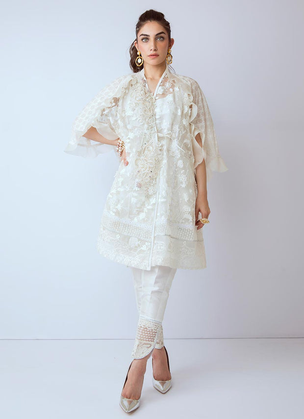 Beautiful Pakistani Eid organza dress in white color