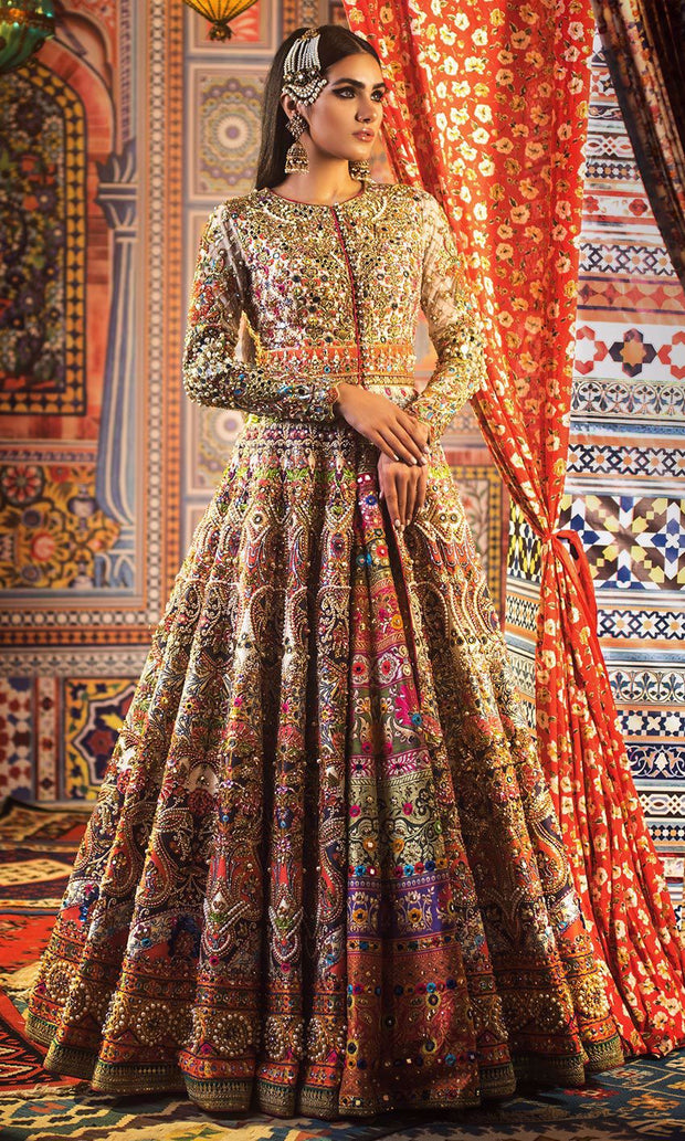 Elegant Mehndi Lehenga with Mirror Work