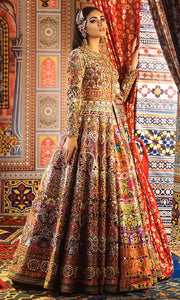 Elegant Mehndi Lehenga with Mirror Work Side Pose