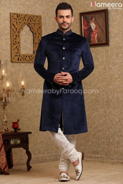 Elegant Navy Blue Sherwani for Wedding Online Front Look