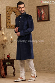 Elegant Navy Blue Sherwani for Wedding Online