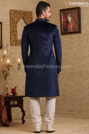 Elegant Navy Blue Sherwani for Wedding Online Backside