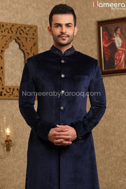 Elegant Navy Blue Sherwani for Wedding Online Close Up View